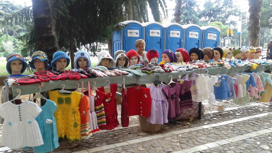 Hat Market on Pedestrian Street, Tirana Capital