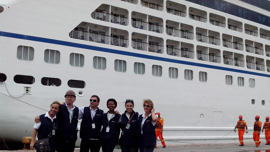 Group of guides attending the tours in Rio Grande for cruise passengers, during the 2013-2014 season.