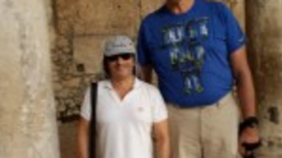 Guiding Danny Schayes, the famous 7 ft tall NBA champion, in the Roman Cardo of Jerusalem Old City