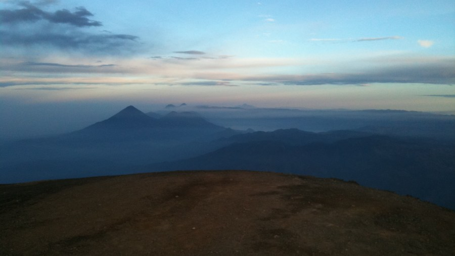 View to the west from the summit during sunrise
