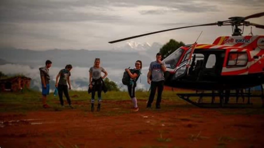 Guest are ready for heli tour to Everest