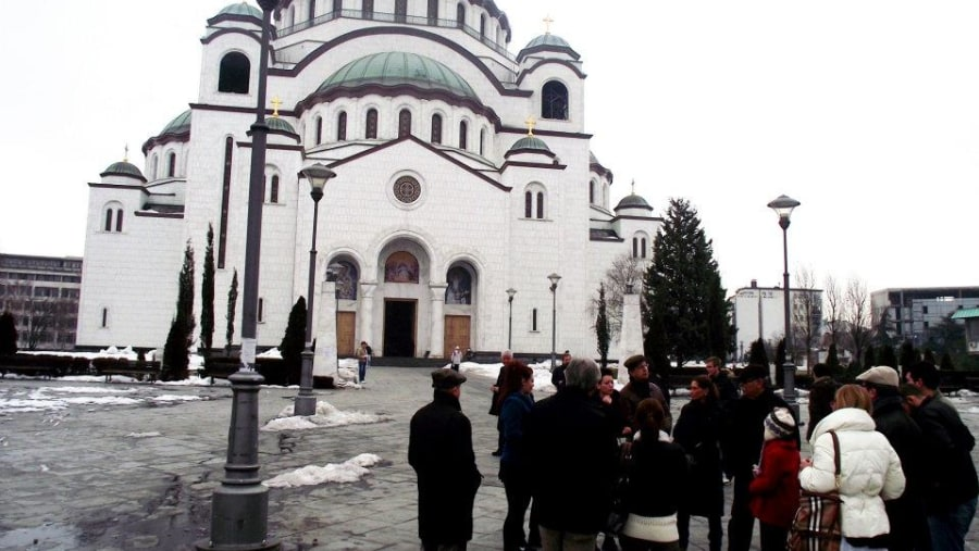 Saint Sava temple, with the group of tourists from Turkey