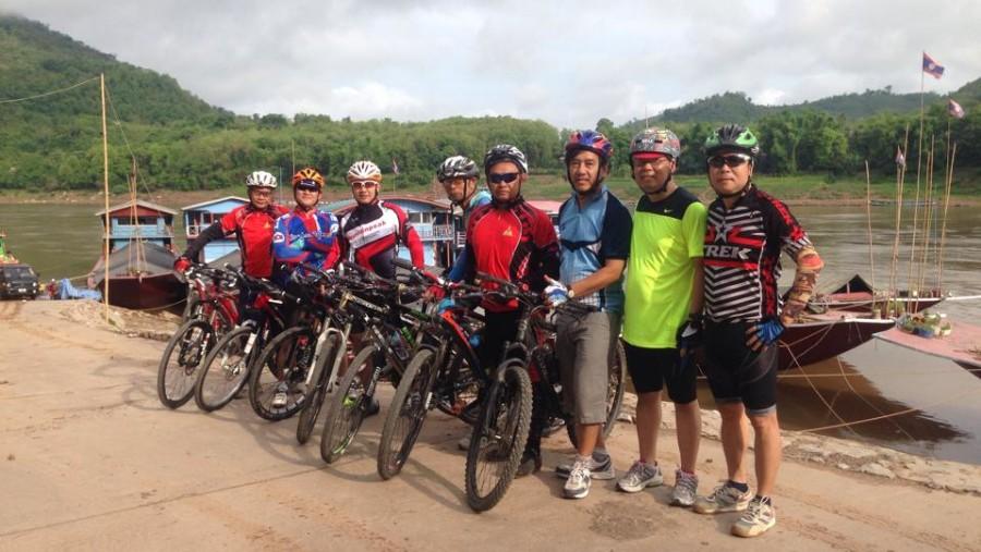 Cycling out of Luang Prabang town