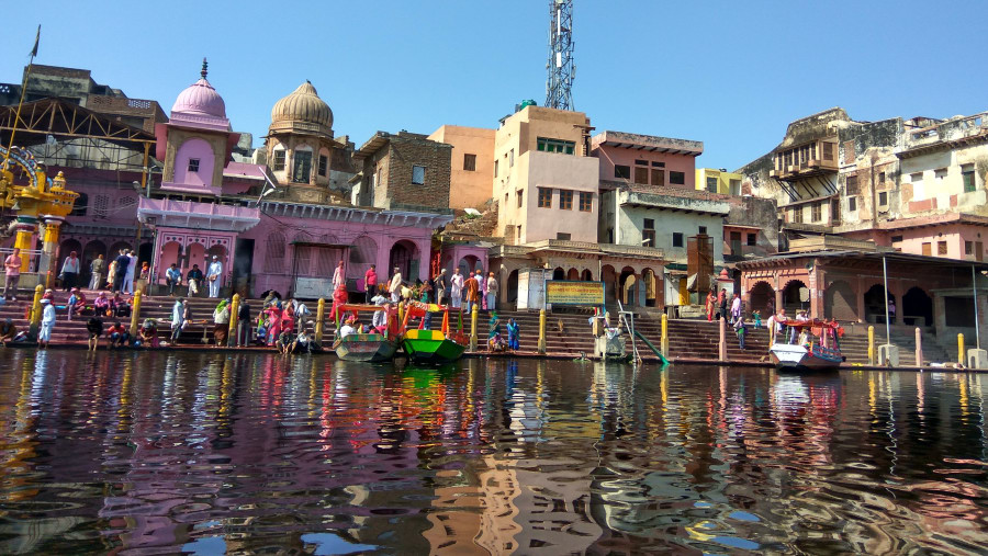 Temples on the bank of River Yamuna.