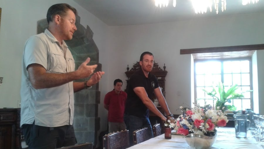 The owners of Santana Brewery Sebastian and Pedro Navarro explain about craft beer varieties.