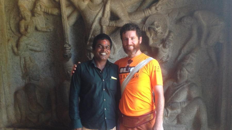 Sankaran Kumar with backpacker guiding