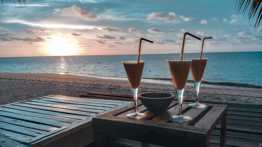 Beach, sunset, cocktail