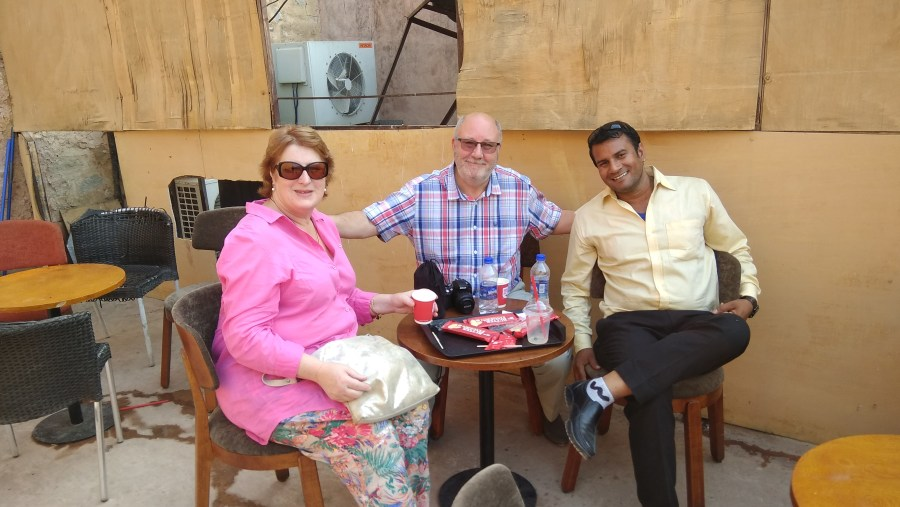 At Cafe coffee day with guest from USA