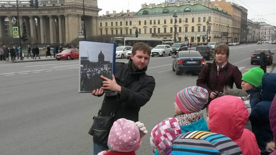 Showing historical photos to kids