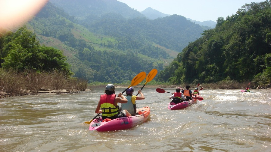 kayaking on Namkhan River