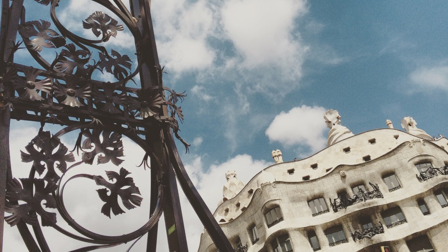 During a tour in front of La Pedrera, Gaudi