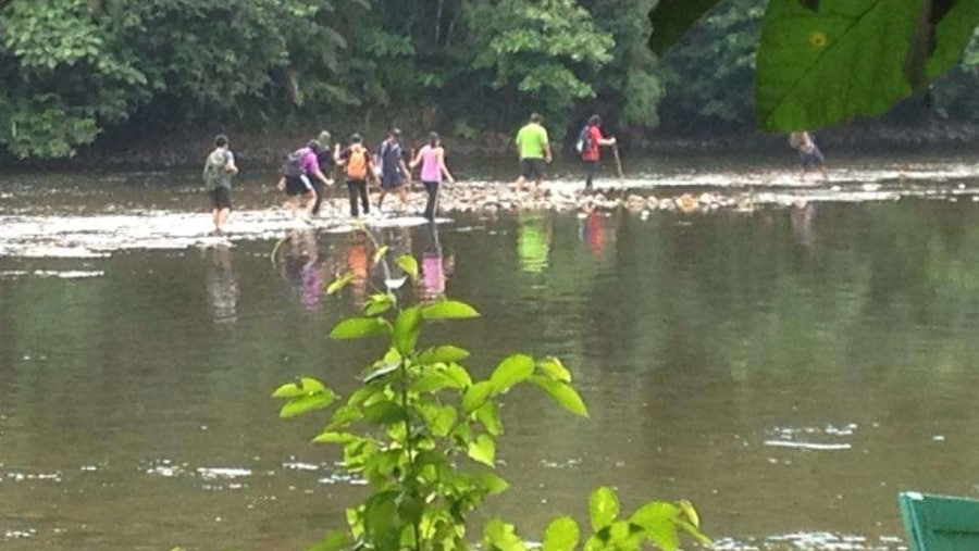 Walking through the river