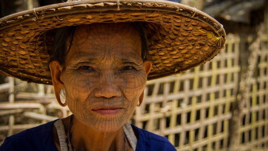 Chin tattooed woman