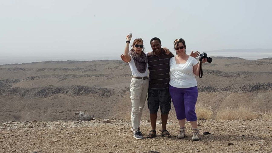 Driving to the hottest active volcano , our clients and our Guide Fitsum Afework
