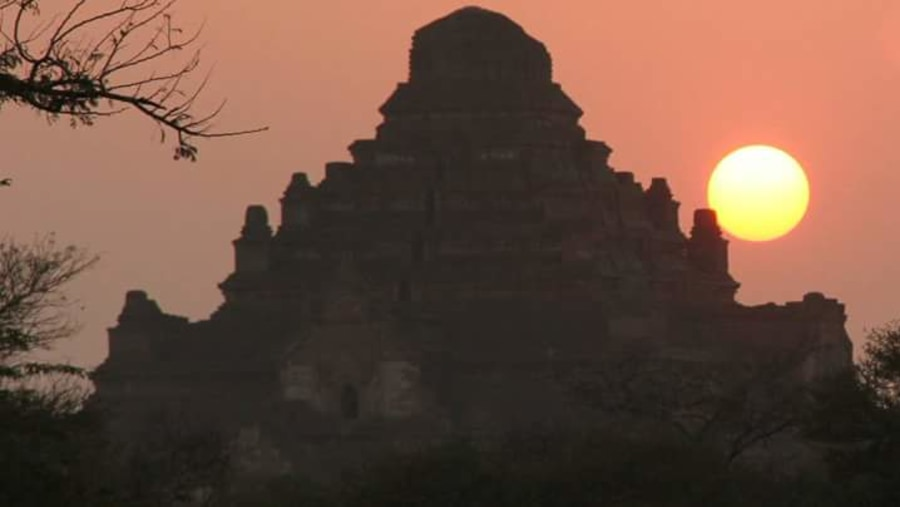The sun sets behind the most massive temple in Bagan.