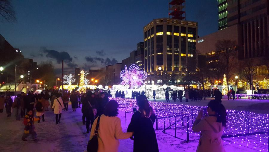 Sapporo Christmas illumination and market