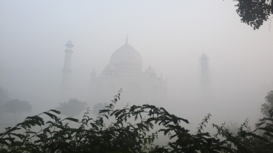 Foggy mystic Sunrise at the Taj Mahal