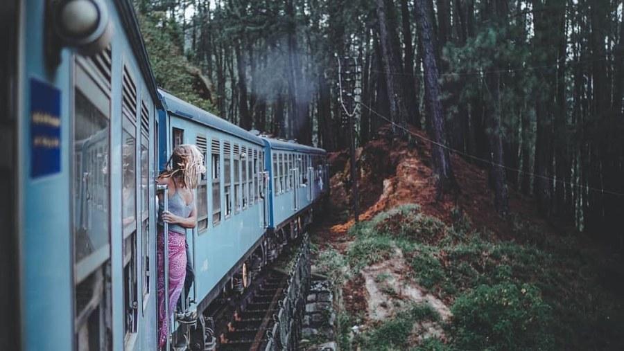 Train Journey through misty hills