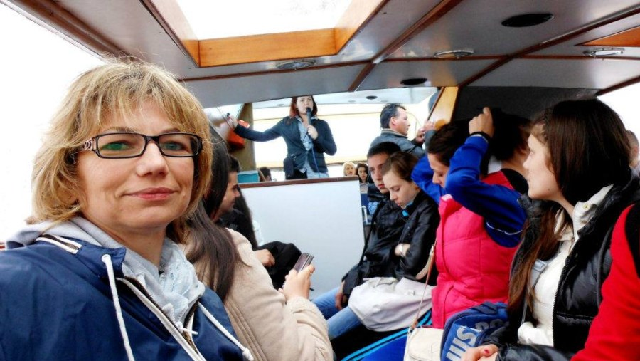 on a boat to Venice