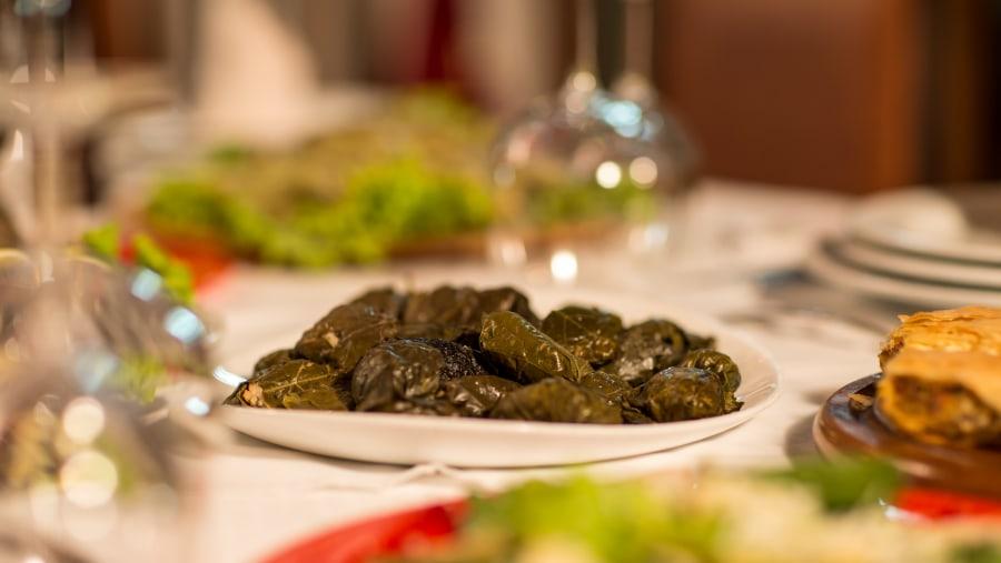 Japrak, Rice rolled with grape leaves, Albania Food, berat food