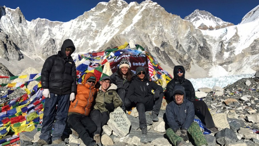 Our Team in Everest Base Camp with happy client