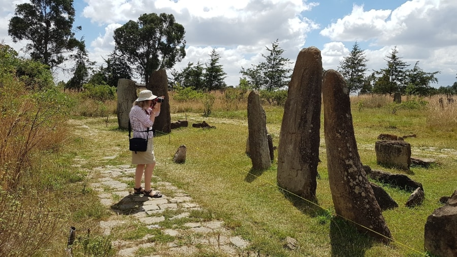 UNESCO World Heritage Site of Site of Steles of Tiya - Stone Grave markers near Addis Ababa