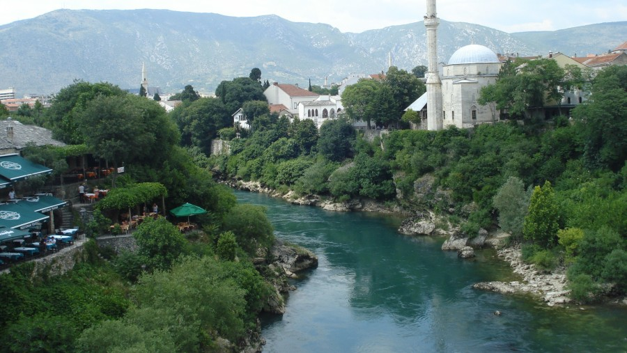 From the Mostar Bridge. One side of the city is Muslim and another is Catholic.