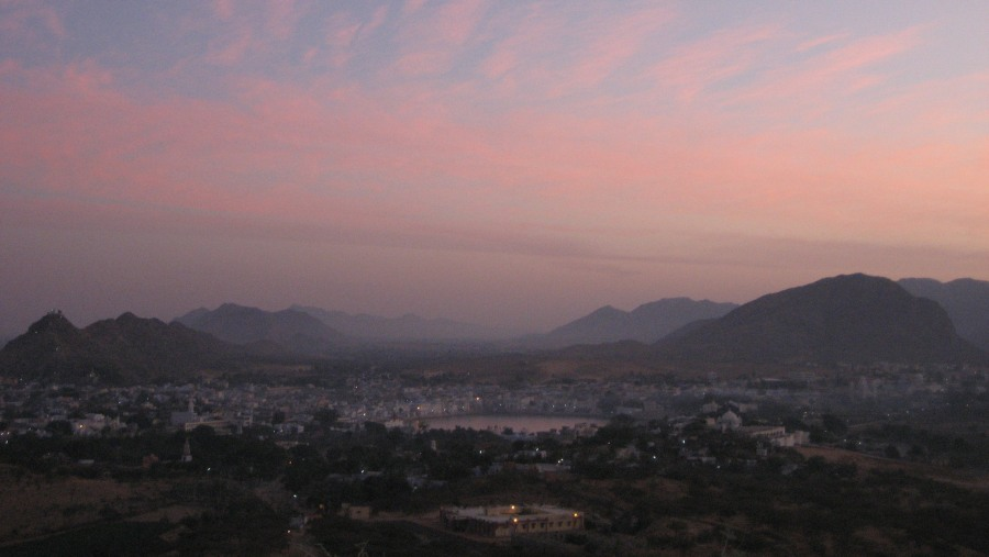 birds eye view of pushkar city