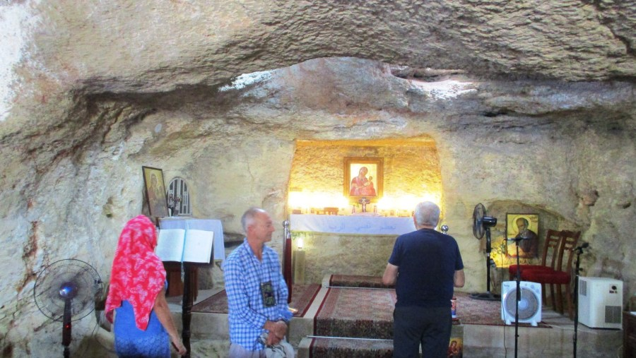 Praying in the Grotto of the Virgin Mary in Maghdouche in the heights of Sidon (2018-10)