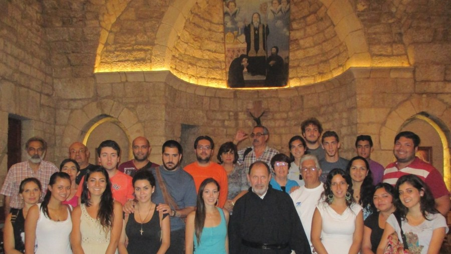 Lebanese from Latin America participating in a mass in the Convent of Saint Charbel in Annaya (2015-07)