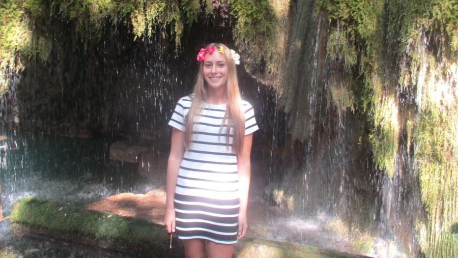 Argentinian Lebanese girl posing in a waterfall in Moukhtara - Chouf Mountain (2019-07)