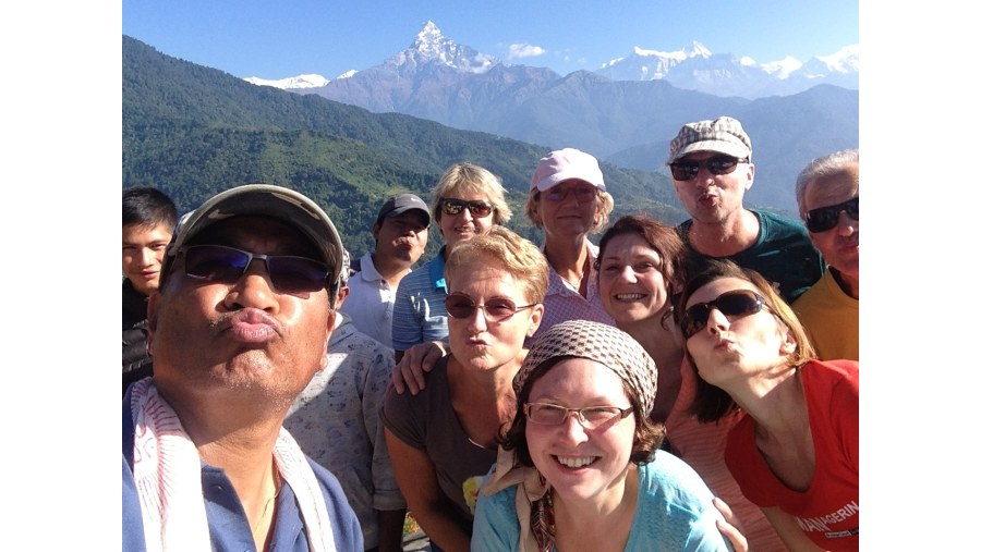 short hike at Annapurna with Fishtail Mt. (6997m) in backdrop.