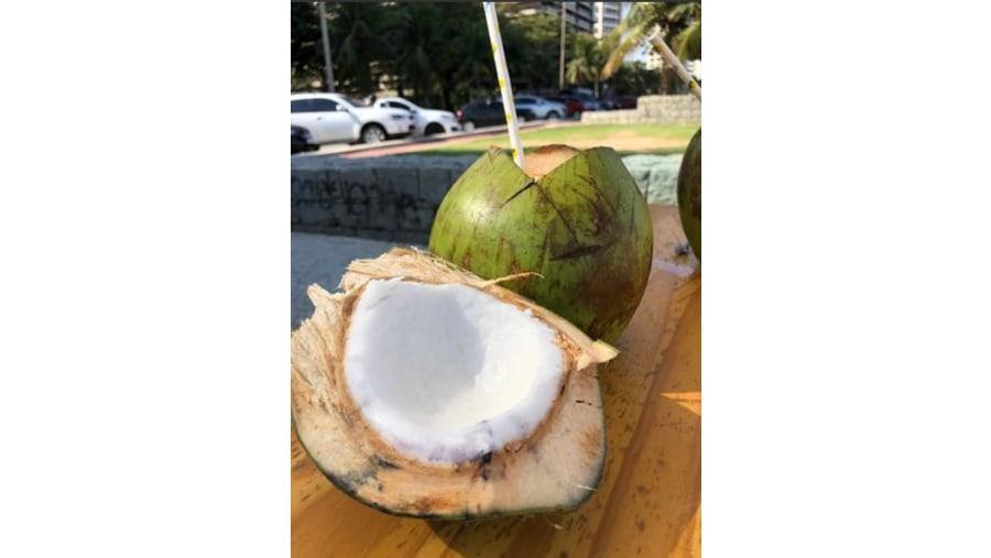 Coconut at a beach kiosk