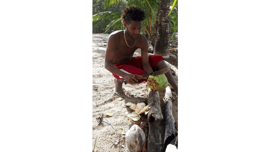 Preparing fresh coconut