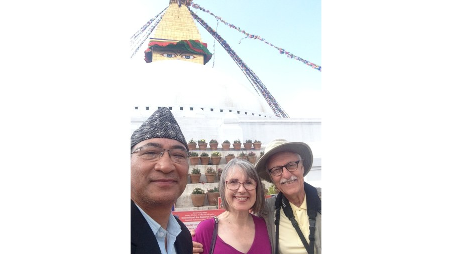 with an American couple at Bodhnath Stupa