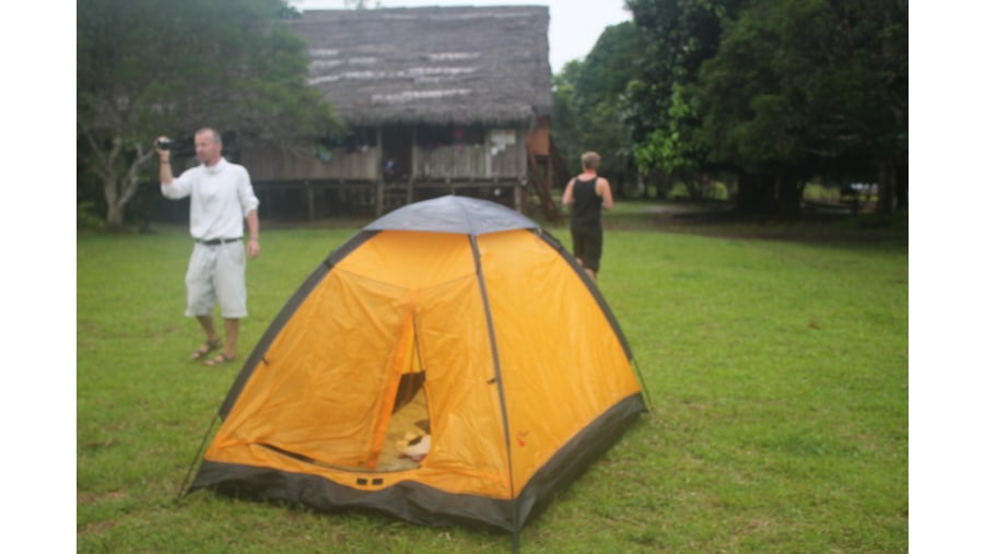 camping at small village in the Amazon jumgle
