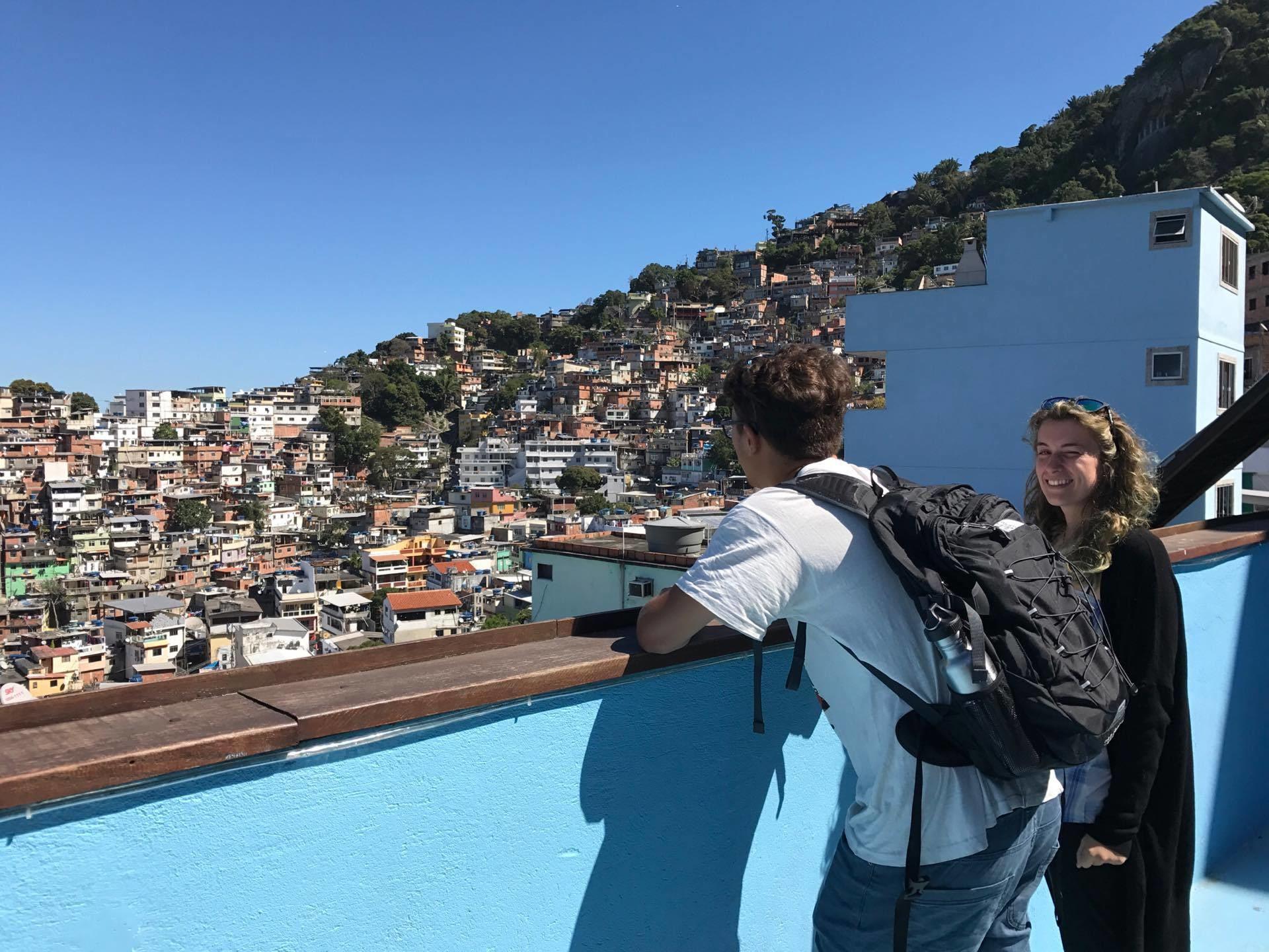 Tourists observing favelas of Rio de janeiro