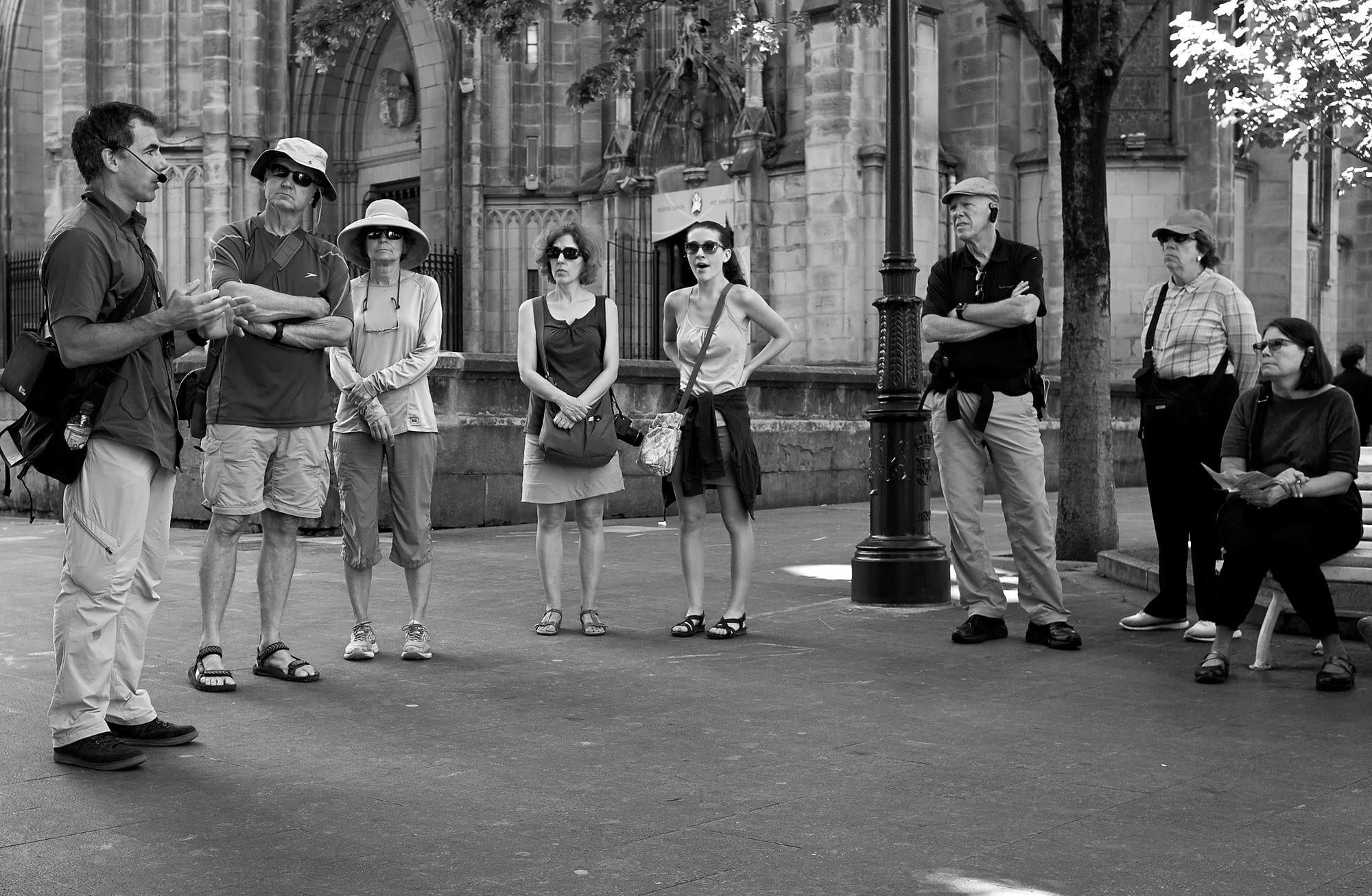 Tourists listening to the guide