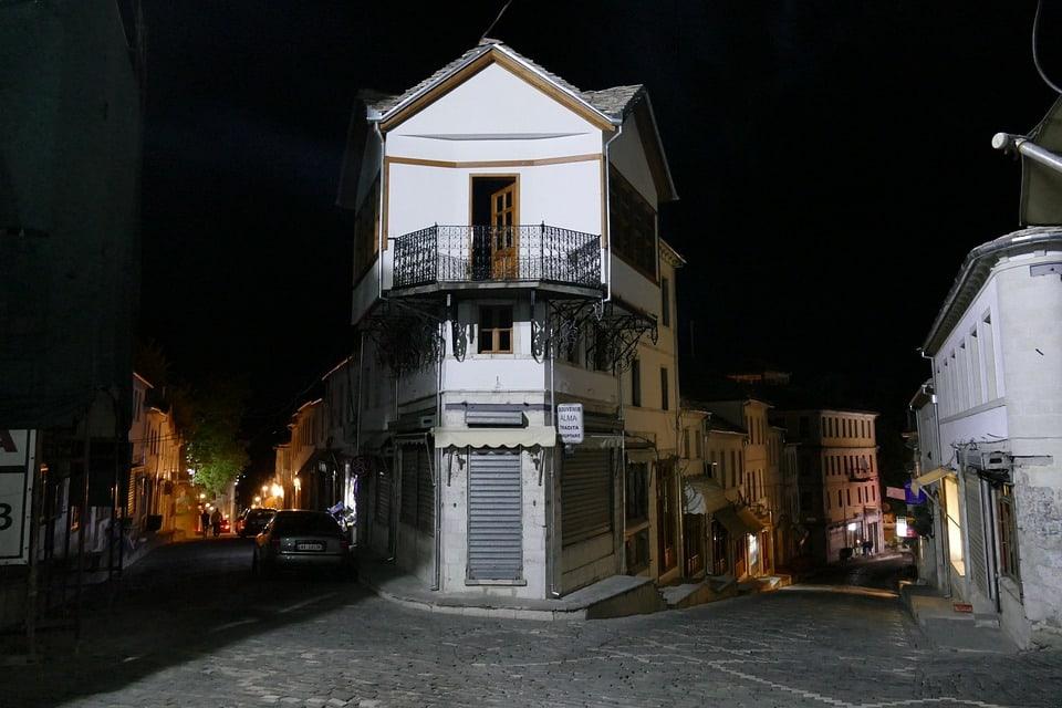 Night view of streets in Gjirokaster