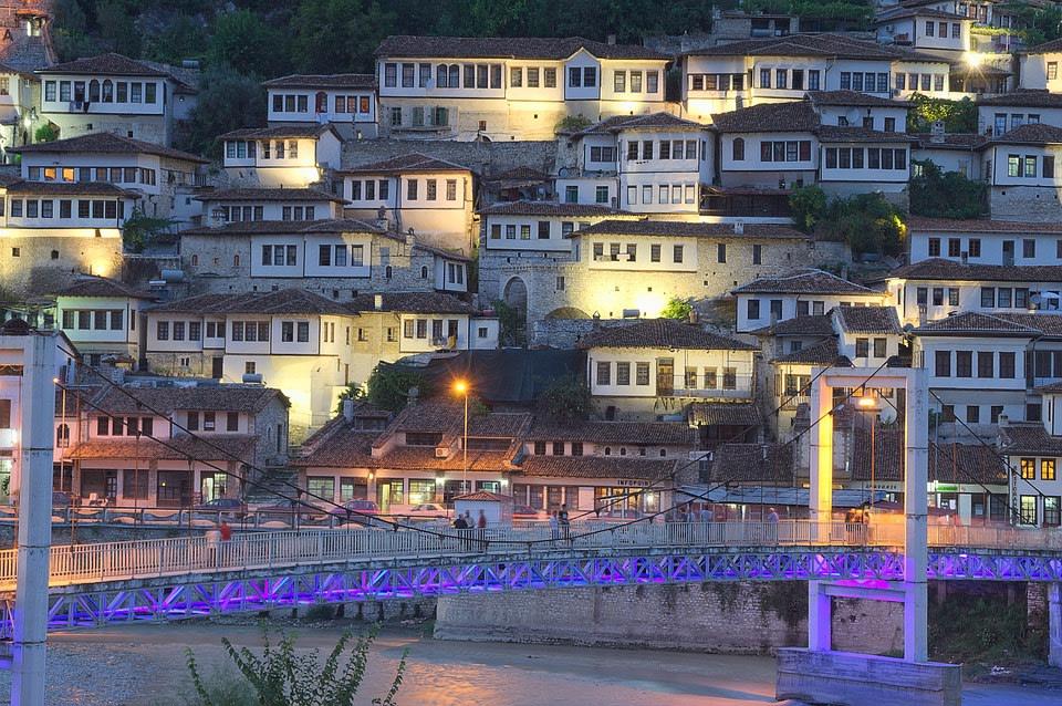 View of houses in Berat