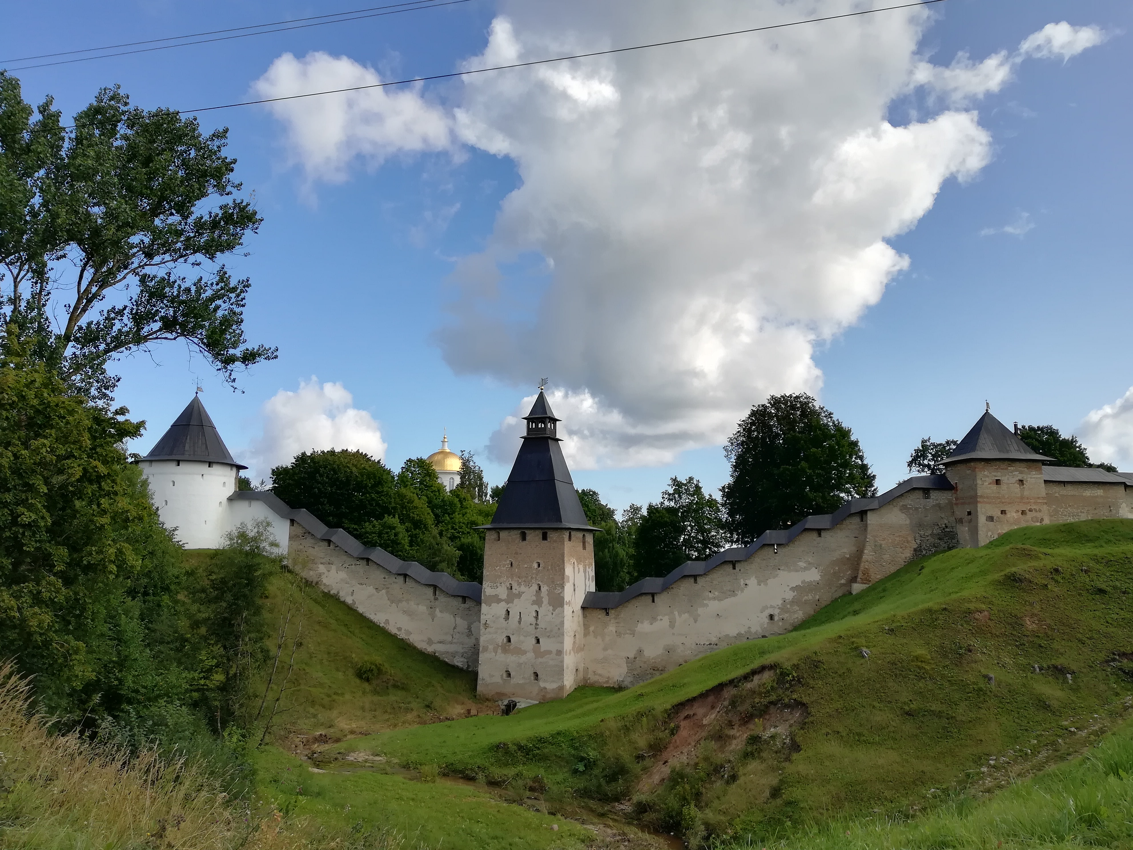 Towers and fortress walls surrounding Assumption monastery