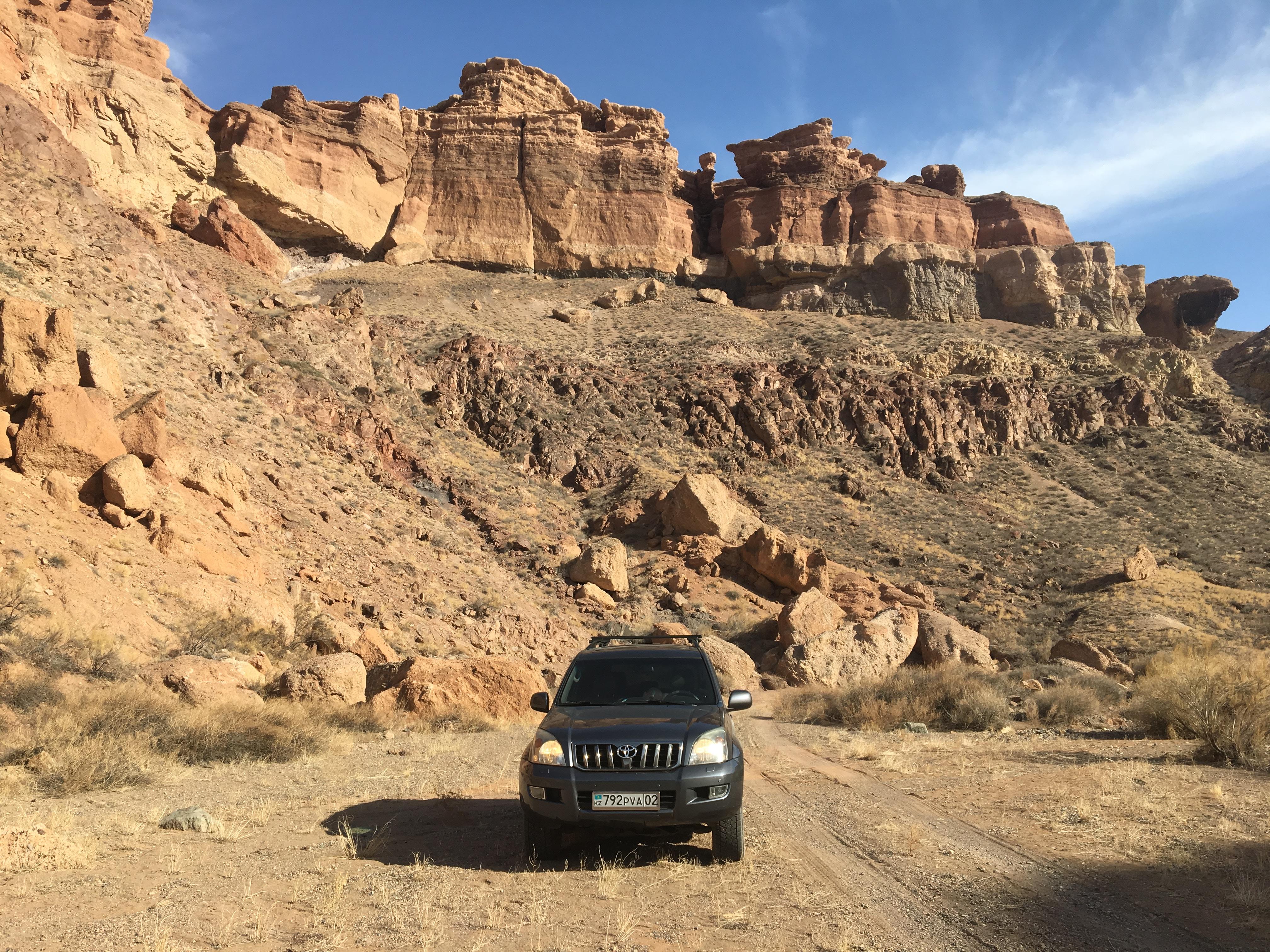 Riding across the canyon