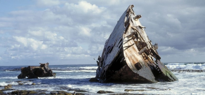 Shipwreck at Cape Point beach