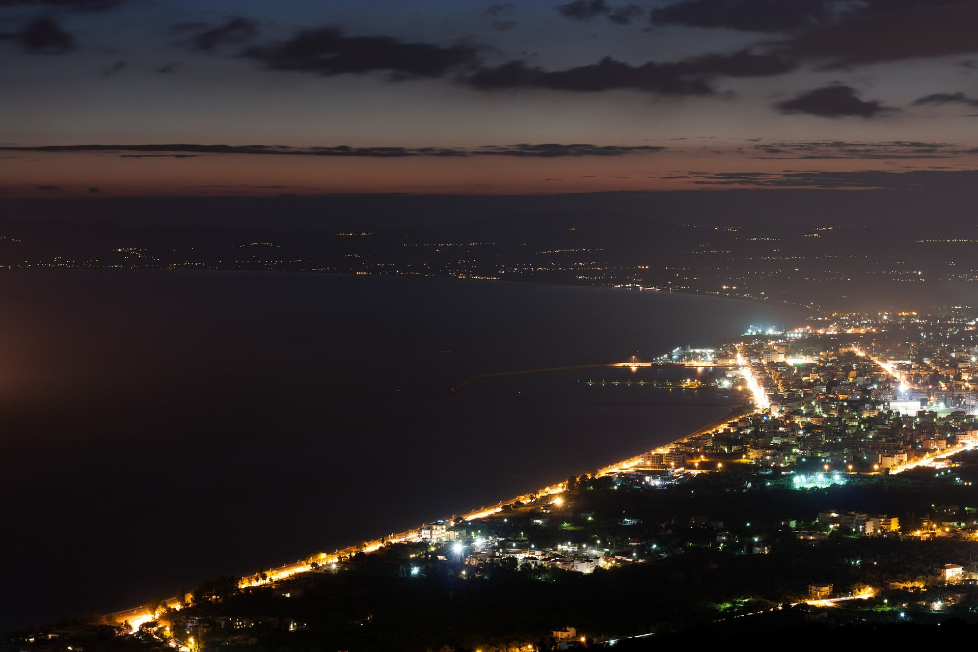 A City in Greece at Night