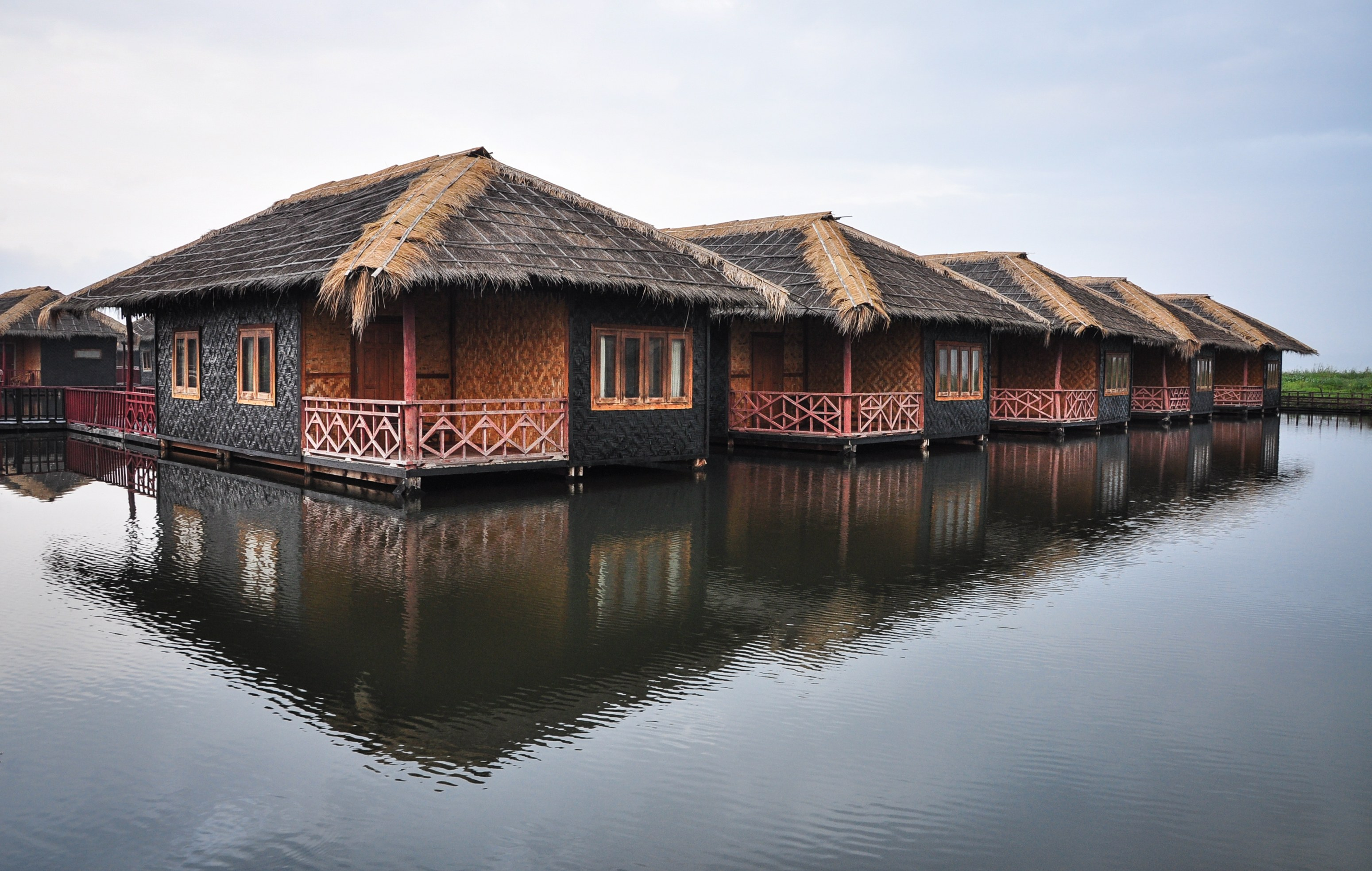Wooden houses at lakeside