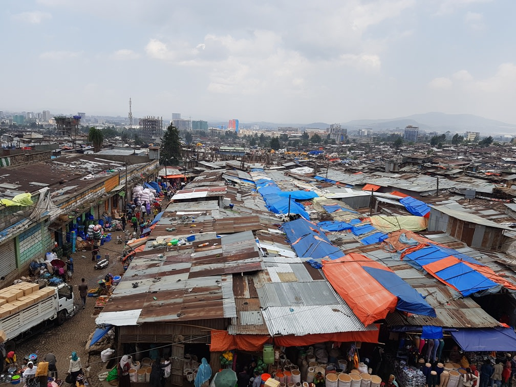Overview of Merkato market in Addis Ababa