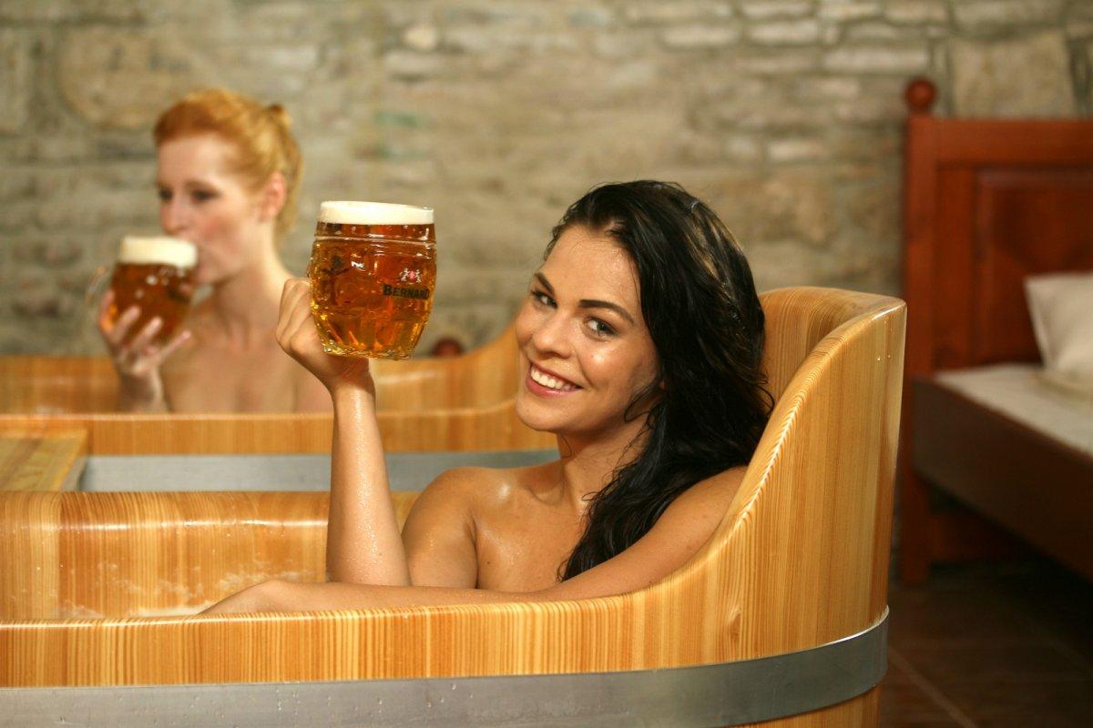 Spacious Wooden Bathtub Full of Real Beer