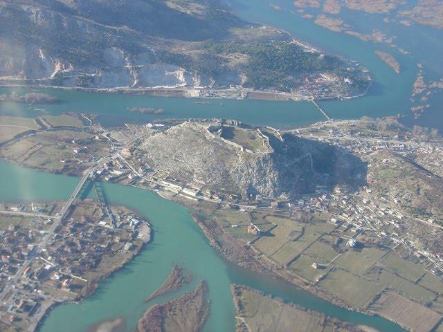 Aerial view of Rozafa Castle