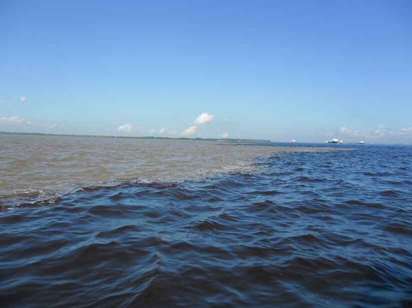 Meeting of Rio Negro and Amazon rivers