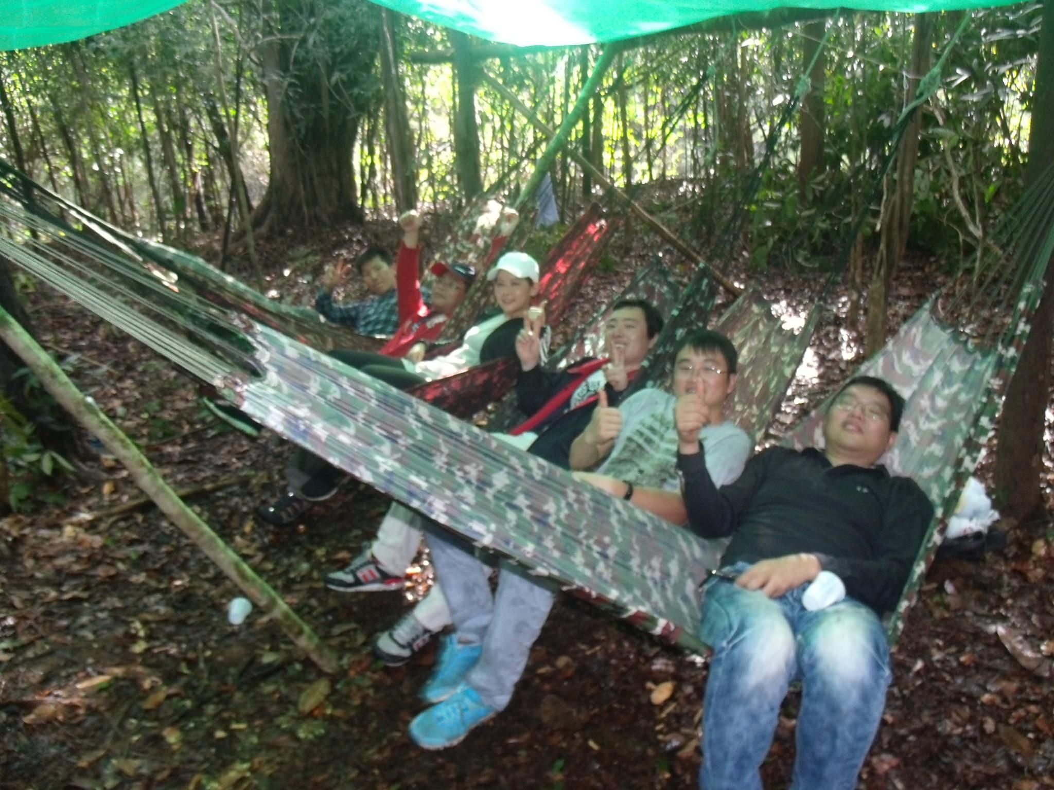 Resting in hammocks